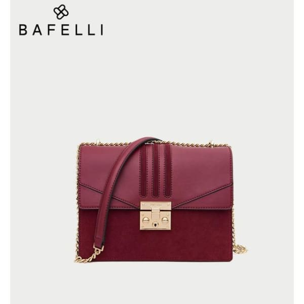 Leather Flap Crossbody - Burgundy - Crossbody