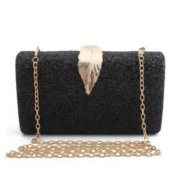 Sequined Clutch with Leaf - Black