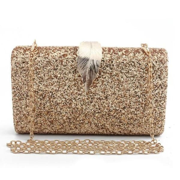 Sequined Clutch with Leaf - Gold