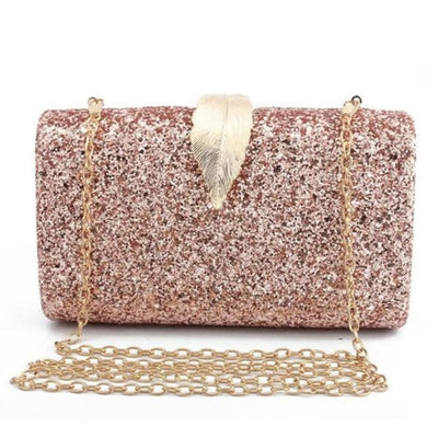 Sequined Clutch with Leaf - Pink