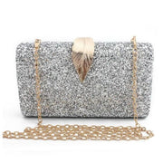 Sequined Clutch with Leaf - Silver