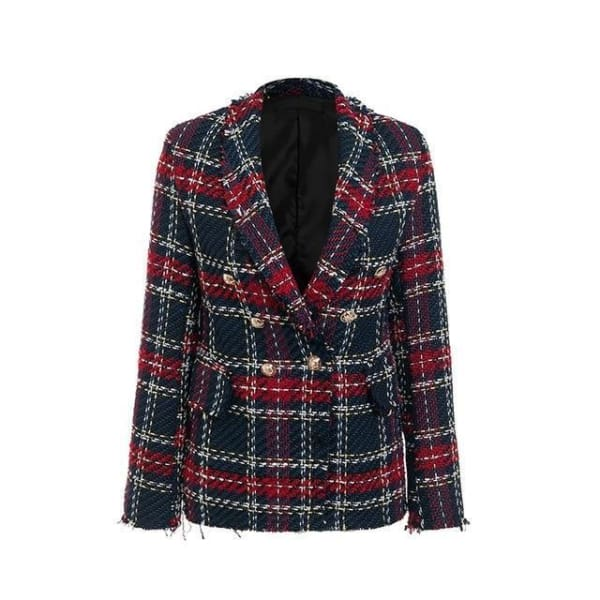 Tweed Plaid Blazer - Red / XS - Blazer