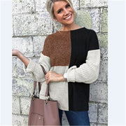 Pullover Sweater Color Blocked - Brown / S - Sweater