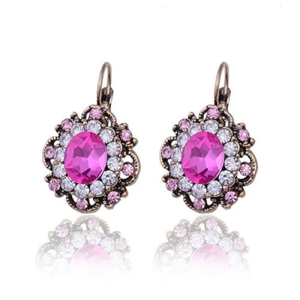 Vintage Hot Pink Crystal Filigree Earrings - Drop Earrings