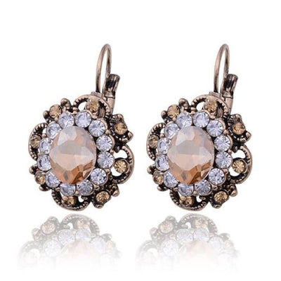 Vintage Champagne Crystal Filigree Earrings - Drop Earrings