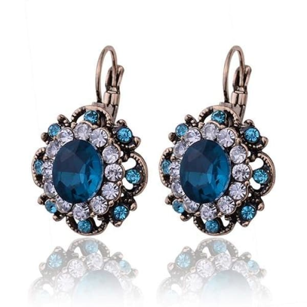 Vintage Sapphire Blue Crystal Filigree Earrings - Drop Earrings