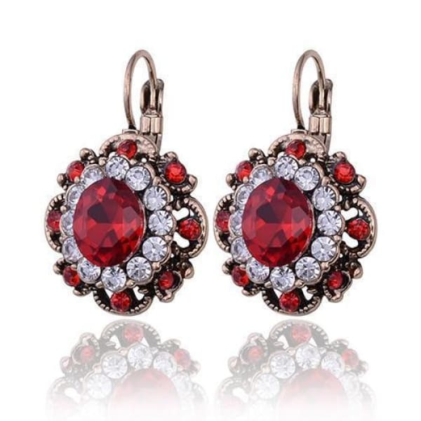 Vintage Ruby Red Crystal Filigree Earrings - Drop Earrings