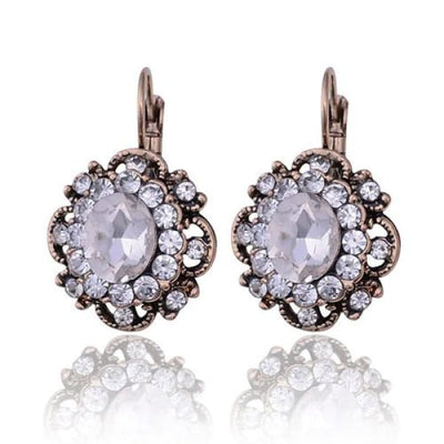 Vintage Clear Crystal Filigree Earrings - Drop Earrings