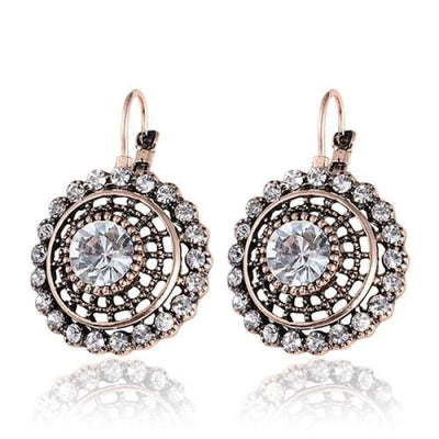 Vintage Round Clear Crystal Drop Earrings - Drop Earrings