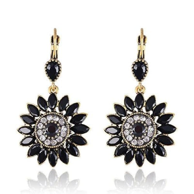 Onyx Black Floral Statement Earrings - Drop Earrings