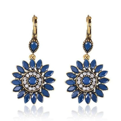 Sapphire Blue Floral Statement Earrings - Drop Earrings