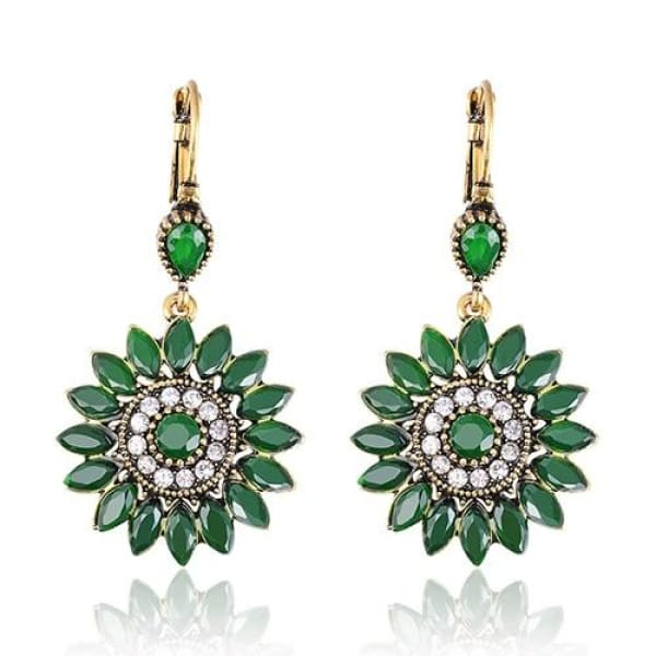 Emerald Green Floral Statement Earrings - Drop Earrings