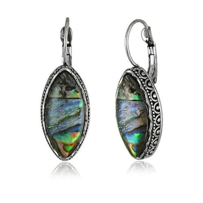 Cabochon Faux Shell Marquis Drop Earrings - Drop Earrings