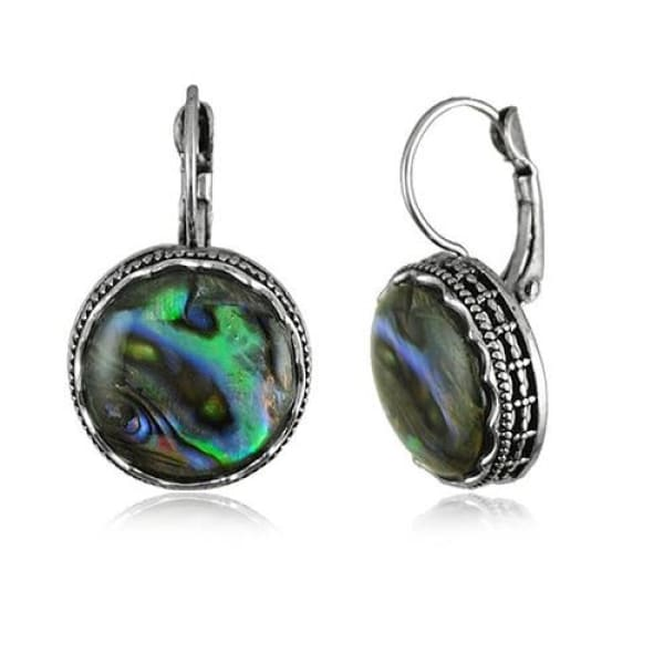 Cabochon Faux Shell Round Drop Earrings - Drop Earrings