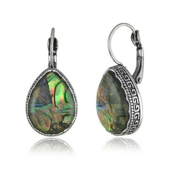 Cabochon Faux Shell Tear Drop Earrings - Drop Earrings