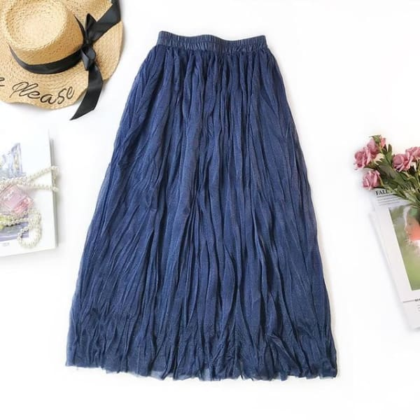 Long Gathered Skirt - Blue / One Size - Skirt