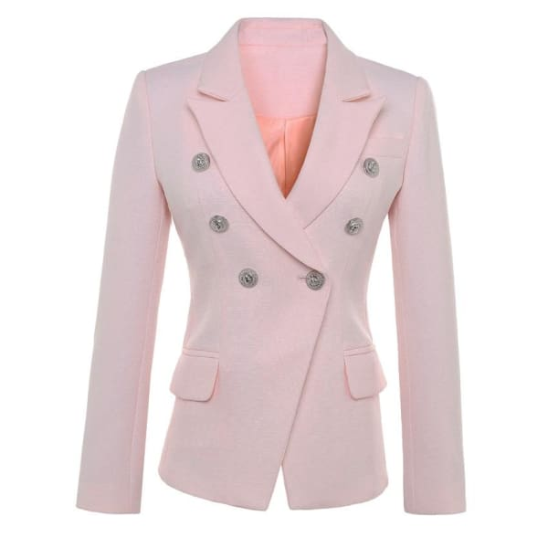 Double Breasted Pink Blazer - Pink / S - Blazer