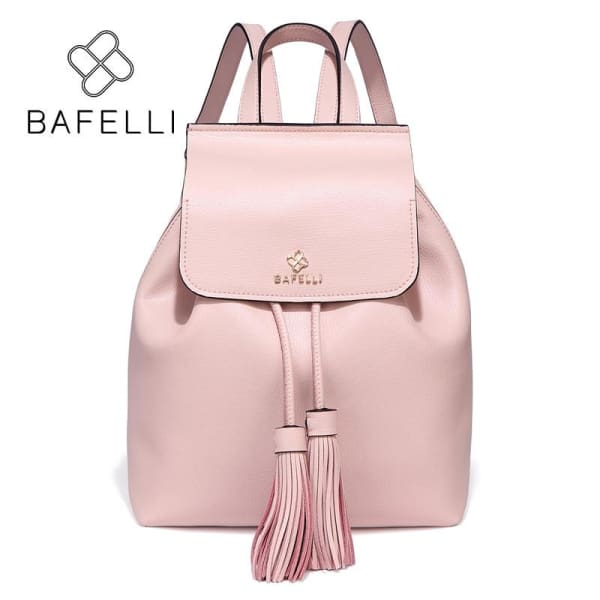 BAFELLI Genuine Leather Drawstring Backpack with Tassels - Split leather pink - Backpack