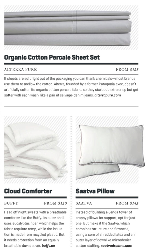 Alterra Pure is featured as the Best Organic Cotton Sheets along with non organic offerings from Buffy and Saatva