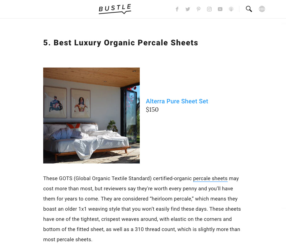 being named the best organic cotton percale sheets is the result of great design and fashion