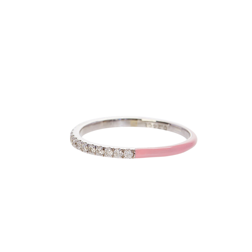 Pink Enamel Diamond Stacking Ring