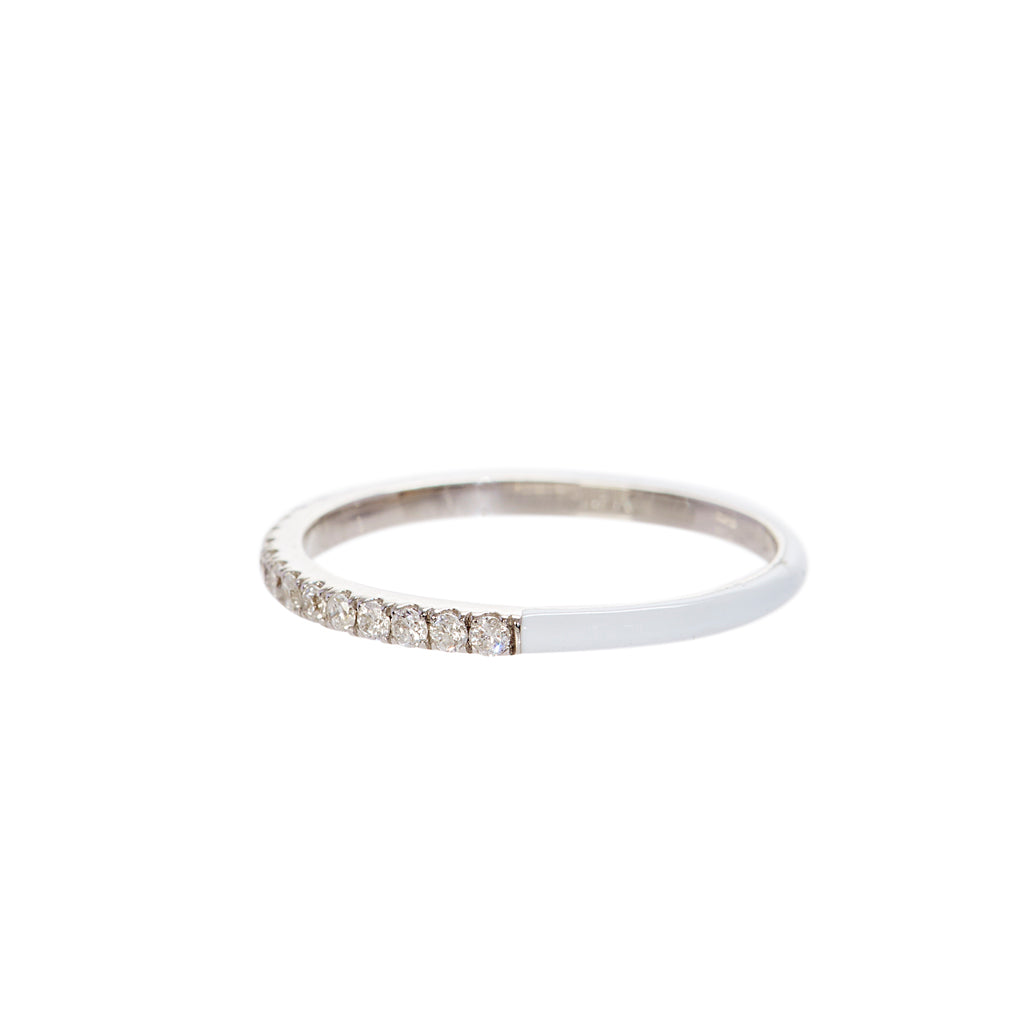 White Enamel Diamond Stacking Ring