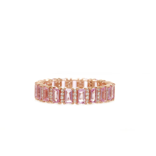 Baguette Pink Sapphire and Diamond Ring
