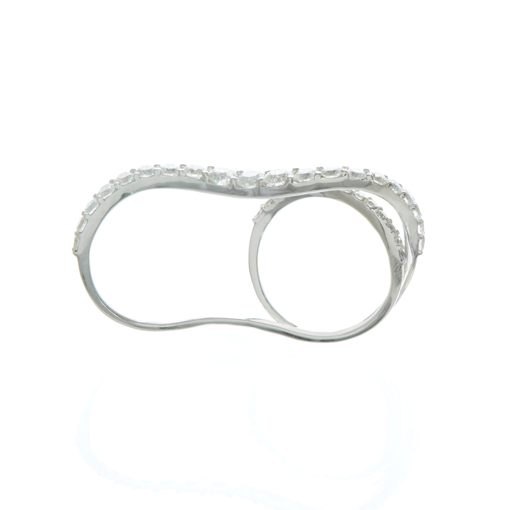 White Gold White Diamond Double Ring