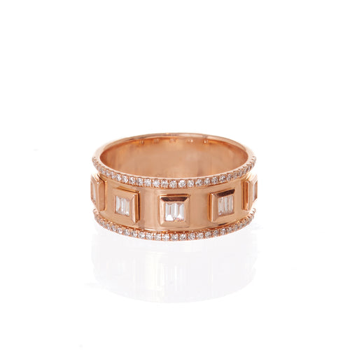 Gold Baguette Diamond Nameplate Ring