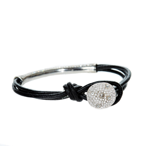 Georgica Diamond Leather Bracelet