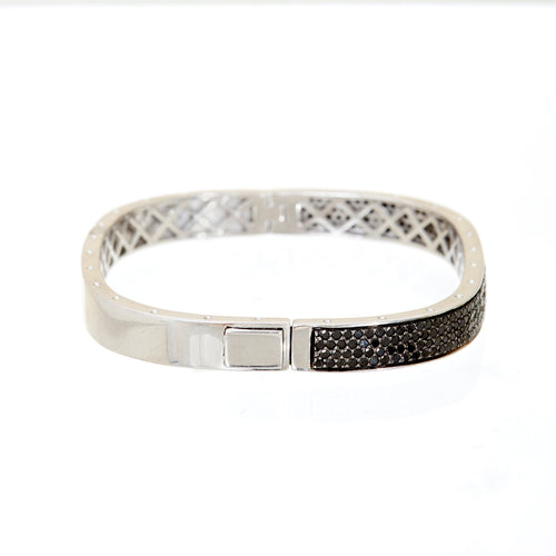 Black Diamond Cushion Bangle