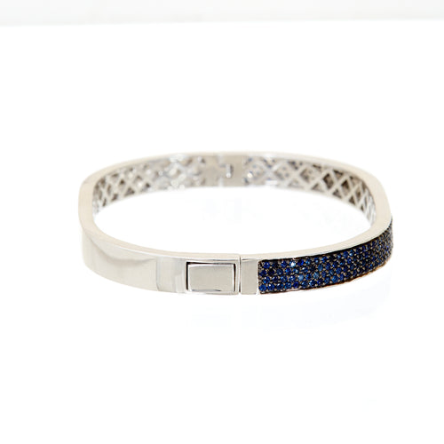 Blue Sapphire Cushion Bangle