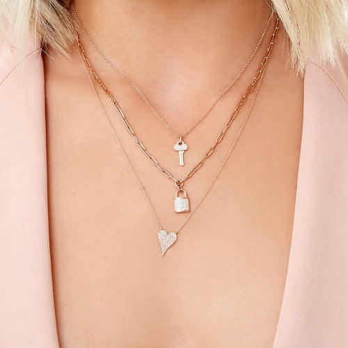 Pave Diamond Key Necklace