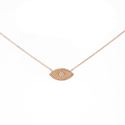 Brushed Evil Eye Diamond Necklace