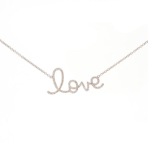 LOVE Script Diamond Necklace (large)