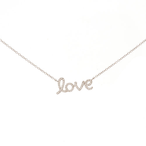 LOVE Script Diamond Necklace (small)