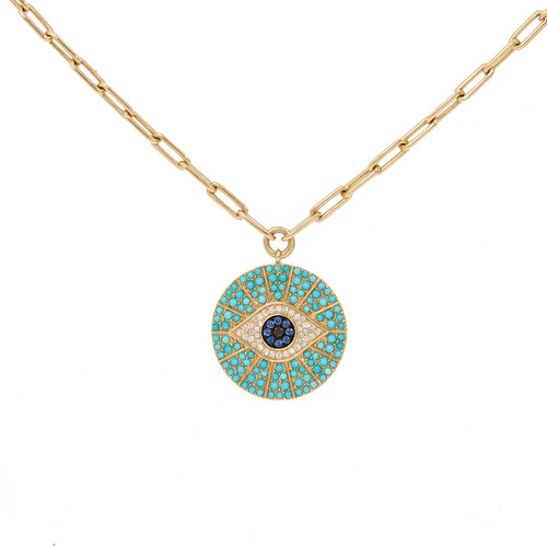 Evil Eye Stone Disc Necklace
