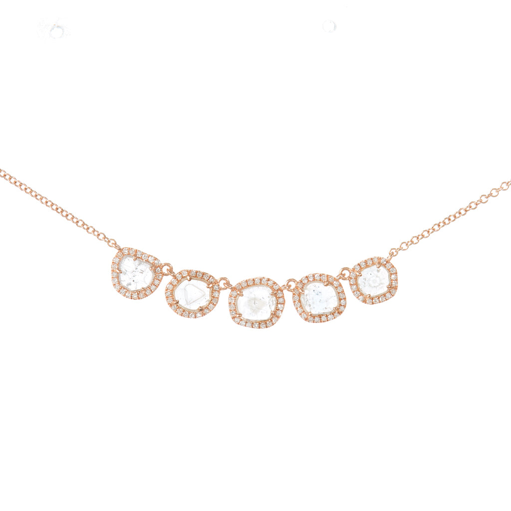 Five Slice Diamond Necklace