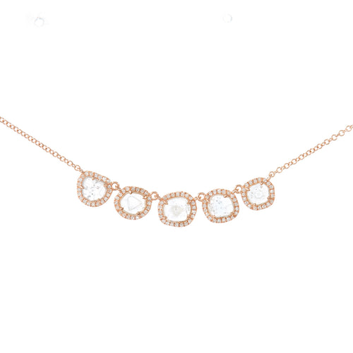 Five Sliced Diamond Necklace