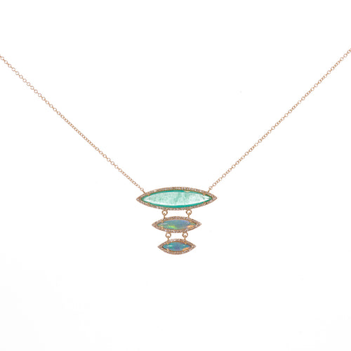 Emerald Opal Diamond necklace