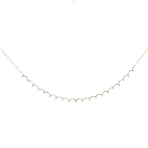 Clover diamond double chain necklace