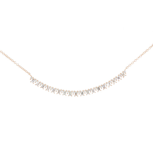Curved Diamond bar necklace