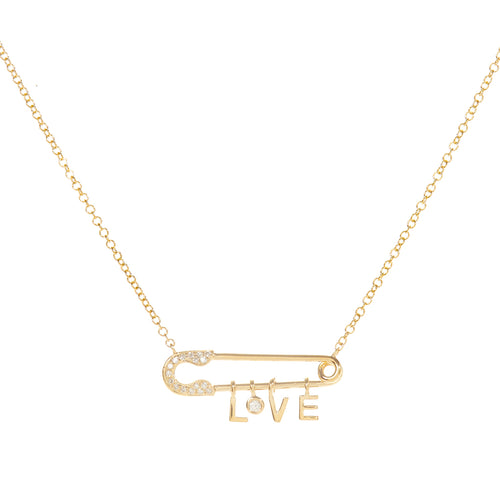 Love Safety Pin Necklace