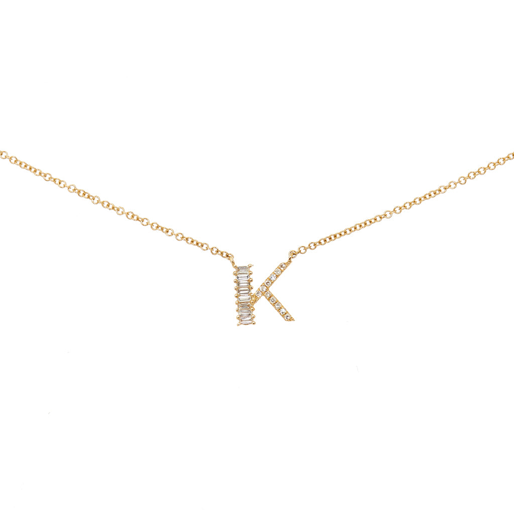 Initial Baguette Diamond Necklaces
