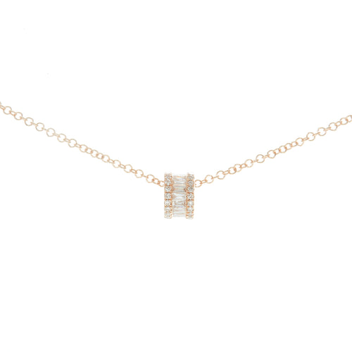 Round Baguette and Pave Diamond Rondelle Necklace