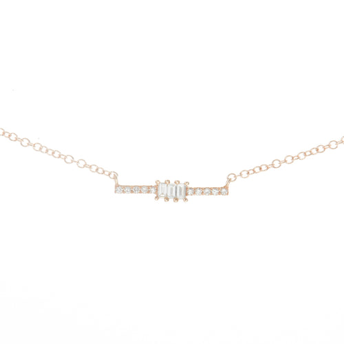 Petite Baguette Diamond Bar Necklace