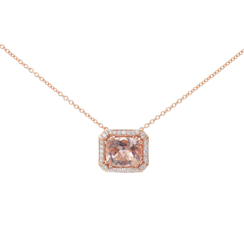 Pink Morganite Diamond Necklace