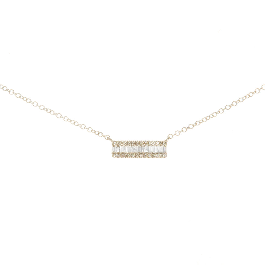 Clustered Baguette Diamond Bar Necklace