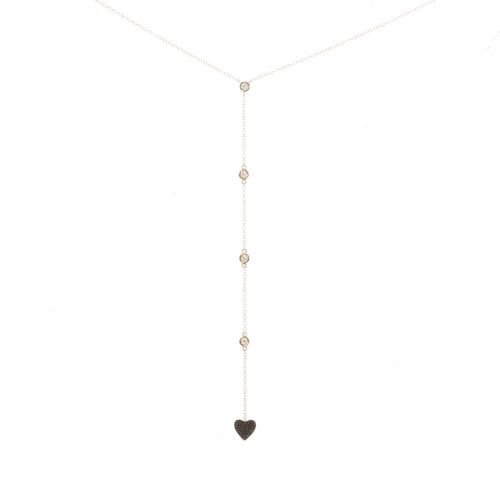Contrast Diamond Heart Lariat