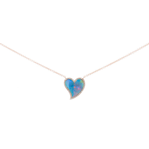 Opal Heart Diamond Necklace